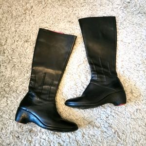 CAMPER | Black leather lined wedge knee high boots
